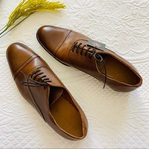 NWT ZARA Mens Brown Leather Oxford Dress Shoe 11